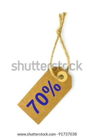 70% Sale tag - stock photo
