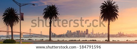 San Francisco and Bay Bridge taken from Treasure Island. - stock photo