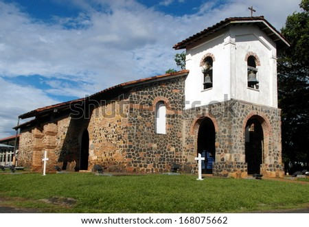 SAN FRANCISCO DE LA MONTAÃ?Â?A CHURCH, in San Francisco, Veraguas, Panama was built in 1727 largely by the indigenous Indians of the region.  This did not stop their enslavement.   - stock photo