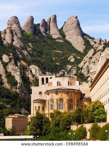 Santa Maria de Montserrat monastery in spring. Barcelona - stock photo