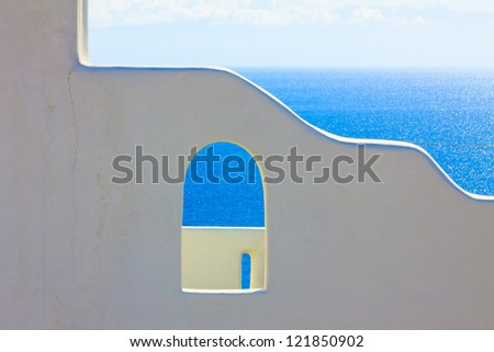 Santorini Greece, Whitewashed wall with sea background Santorini island in Greece - stock photo