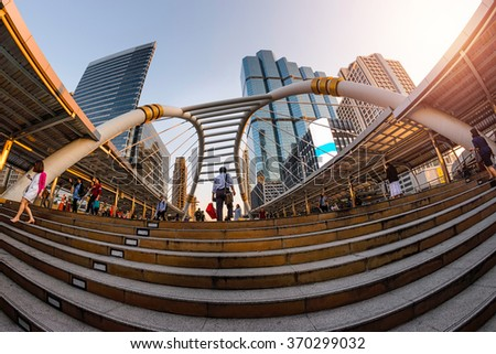 """sathorn road"" sunset downtown bangkok city thailand  - stock photo"