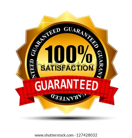 100% SATISFACTION guaranteed gold label with red ribbon  Raster version illustration - stock photo
