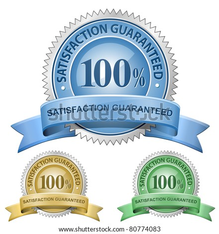 100 % Satisfaction Guaranteed Signs. Raster version - stock photo