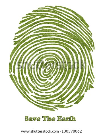 """Save the earth"" green grass fingerprint isolated on white - stock photo"