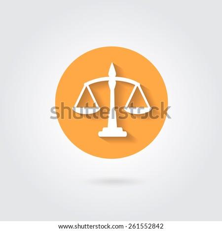 scales balance icon in flat style. White silhouette of Libra in orange circle - stock photo