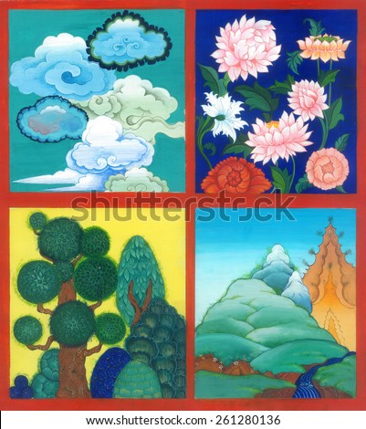 4 scene on the theme of nature: clouds, flowers, trees, mountains. Art illustration gouache. - stock photo