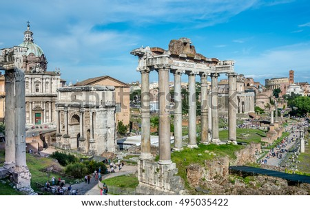 Scenery  over the ruins of the Roman Forum at dusk, Rome, Italy