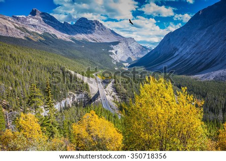 Scenic magnificent canyon on a sunny day. Canyoning excellent highway passes.  Banff National Park, Canadian Rockies - stock photo