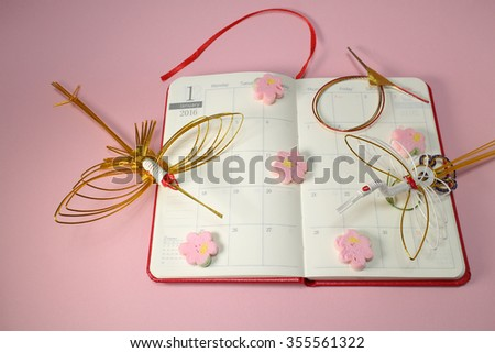 2016 schedule book January page in the new year mood - stock photo
