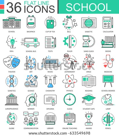 School Color Flat Line Outline Icons Stock Illustration 633549698 ...