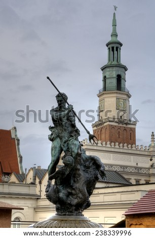 Sculpture of Neptun on the Old Market Square in Poznan, Poland  - stock photo