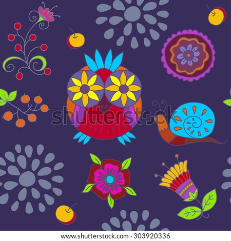 Seamless pattern with owls, berries, leaves ,flowers,apples. Vector background. Seamless texture can be used for wallpapers, pattern fills, web page backgrounds, surface textures. - stock photo
