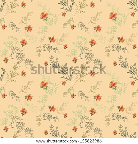 Seamless pattern with roses on beige background