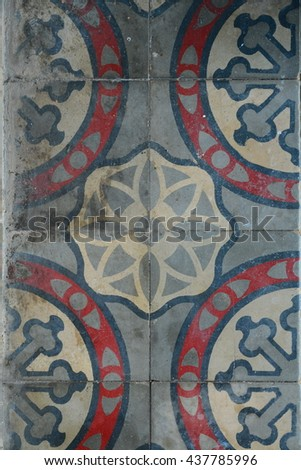 seamless vintage Floor tiles pattern texture bakground - stock photo