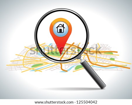 search for home on map location. - stock photo