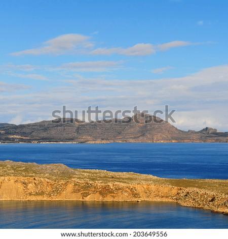 Seascape Greek Island of Rhodes with  Rugged Coast - stock photo