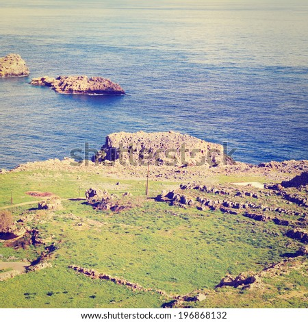 Seascape Greek Island of Rhodes with the Rugged Coast, Retro Effect - stock photo