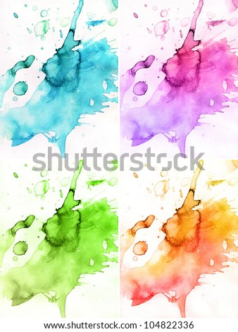 4 seasons astract watercolor backgrounds - stock photo