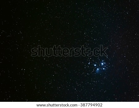 120 second exposure of the Pleiades at a focal length of 200mm  - stock photo
