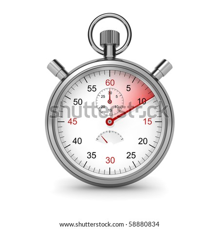 10 seconds. Isolated stopwatch on white. Clipping path included. Computer generated image.