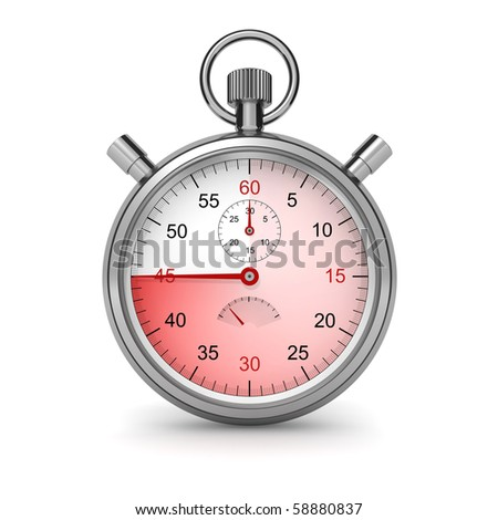 45 seconds. Isolated stopwatch on white. Clipping path included. Computer generated image.