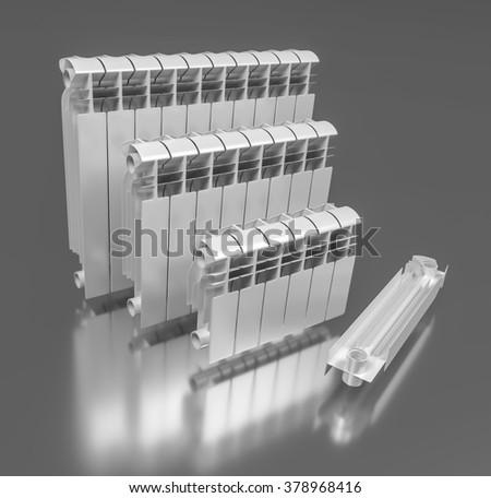 7. Sectional aluminum radiators. 3D illustration - stock photo