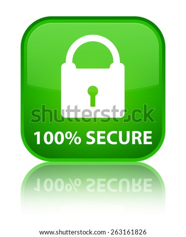 100% secure green square button