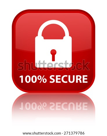 100% secure red square button - stock photo