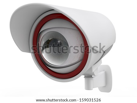 security camera with eye, big brother concept. 3d image - stock photo