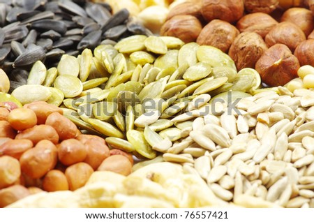 seeds and nuts with collection - stock photo