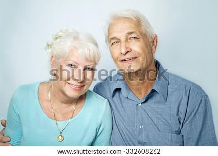 Senior couple portrait - stock photo