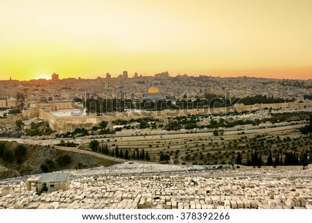 23 september 2012.View of the old city of Jerusalem from the Mount of olives at sunset, Jerusalem, Israel