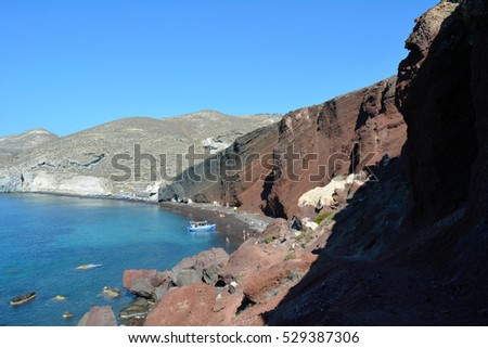 30 September 2016 View of the seacoast and the beautiful Red beach. Santorini island, Greece