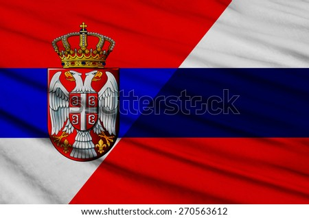 Serbian and Russian flag          - stock photo