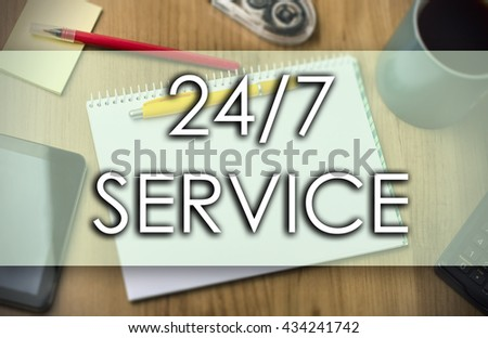 24/7 SERVICE - business concept with text - horizontal image