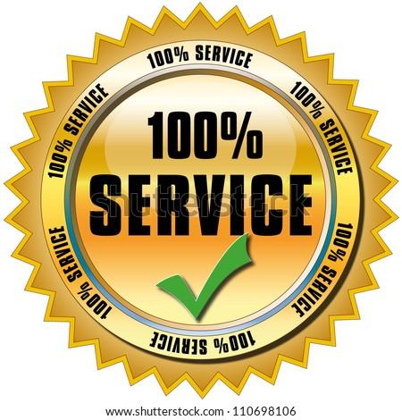100% Service Button - stock photo