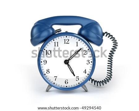 24/7 service concept. Retro blue alarm clock and retro phone reciever. - stock photo