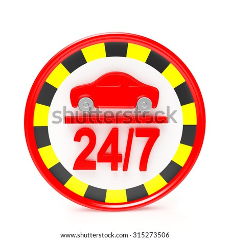 24/7 service taxi. Round symbol isolated on white background