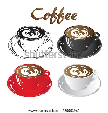 set colored cups of coffee chocolate black white red isolated on white background icon raster illustration - stock photo