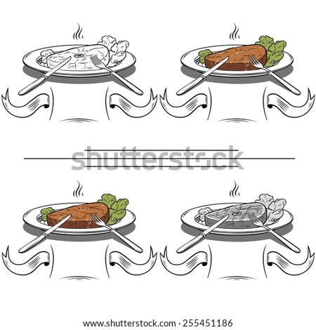 set Grilled Steak and Green lettuce - Illustration - stock photo