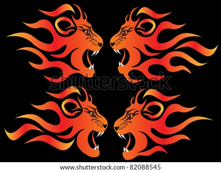 set illustration infuriated lion in fire on black