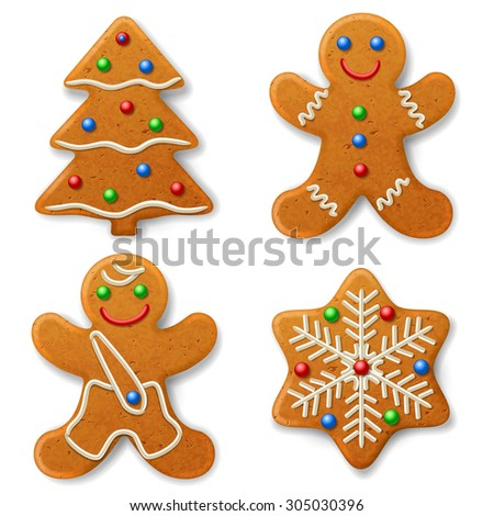 Set of Christmas gingerbread, decorated colored icing  - stock photo