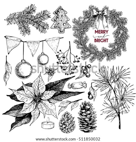 set of Christmas objects. Hand drawn vintage style. Xmas Icons. Wreath, lettering, pine tree branch, fir, pinecone, poinsettia, candle, berries, bow, cookies, holly, candy.