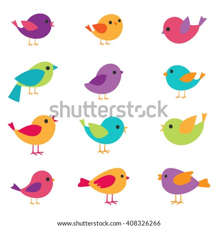 set of colorful and bright birds - stock photo