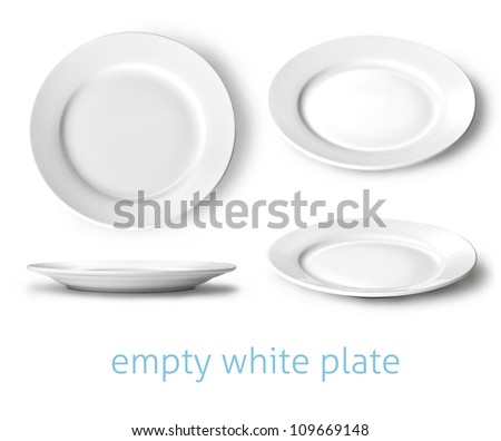 set of empty white plate on the white background
