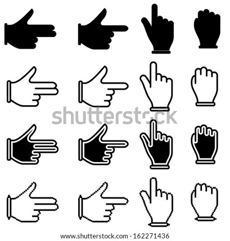 set of hand cursor pictograms. Raster copy