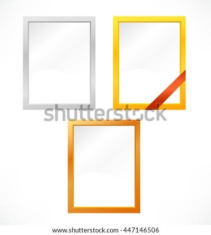 set of metallic frames - stock photo