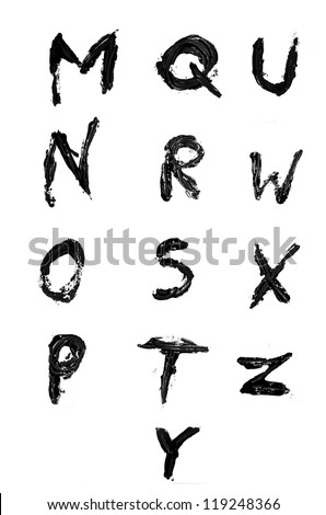 Set of painted letters - stock photo