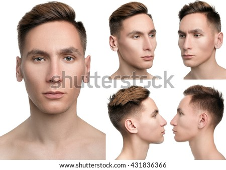 set of portraits. portrait of a man in five angles. portrait of a young  men. close-up. model with perfect skin - stock photo